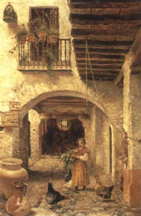 feeding poultry in a courtyard by josé lafita y blanco