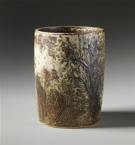 unique cylindrical pot with whimsical forest scene of deer and fawn by axel johann salto