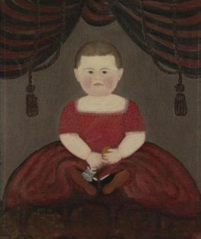 portrait of a baby girl wearing a red dress by american school prior hamblen 19