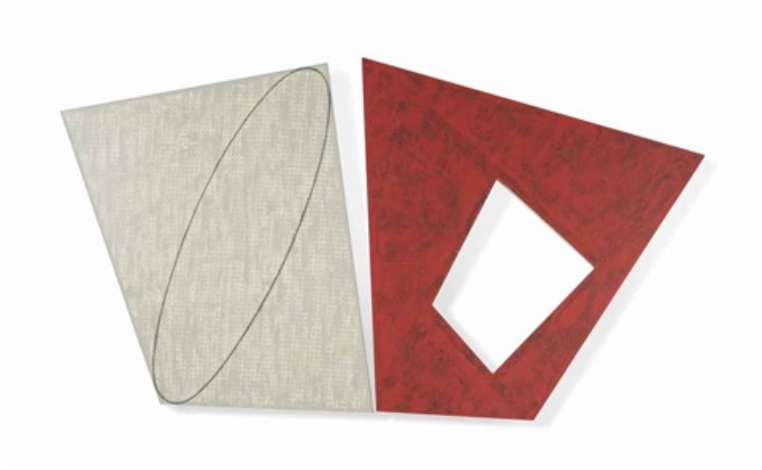 tilted gray ellipse/red frame by robert mangold