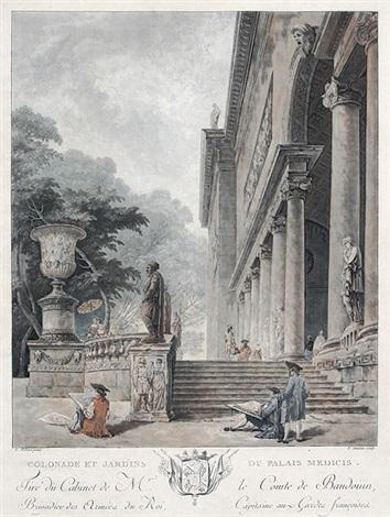 colonade et jardins du palais médicis after hubert robert by jean françois janinet