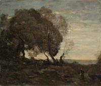 arbres tordus sur une crête (soleil couchant) by jean-baptiste-camille corot