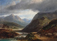 scottish mountainscape with shepherd by james poole