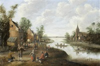 an extensive river landscape with peasants in a village, a church beyond by cornelis droochsloot