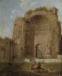 a roman ruin with a woman and child by jacob van lint