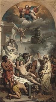 the martyrdom of saint lawrence: a bozzetto by francesco coghetti