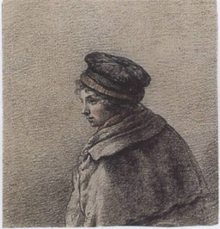 study of a youth in a hat and coat by willem albertus haanebrink