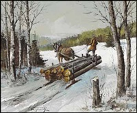 hauling logs by claude langevin
