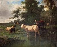 paisaje con vacas by antonio cortés cordero