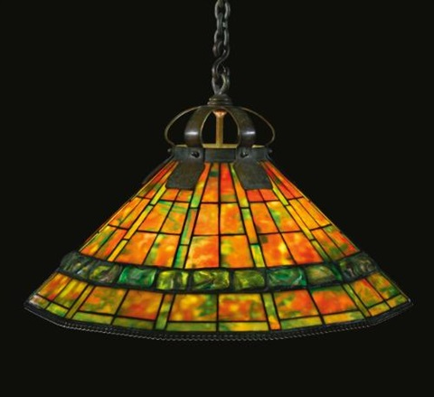 geometric banded turtle back chandelier by tiffany studios