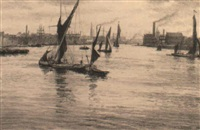 ten auto-lithographs of the lower thames by thomas robert way