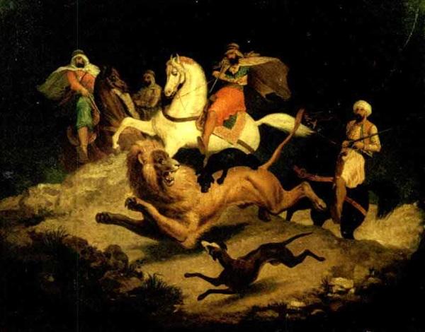 caccia al leone due cavalli lithograph verso by victor jean adam