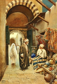 a bazaar in cairo; outside the mosque, tunis, a pair (2) by vittorio rappini