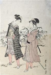 deux femmes portent le sabre et dressent un faucon à la chasse (oban tate-e, right part of a triptych) by utagawa toyohiro
