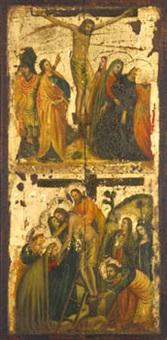 crucifixión y descendimiento by lippo d'andrea (ambrogio di baldese)