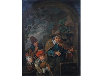 a group of tavern musicians under an arch by william allison