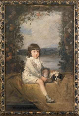 untitled portrait of a young boy and his dog by friedrich august von kaulbach