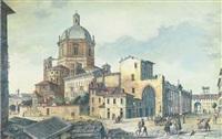 veduta generale del fabbricato di san lorenzo di milano (+ veduta del palazzo di governo; 2 works) by domenico aspari