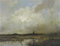 windmill in a landscape by dorus arts