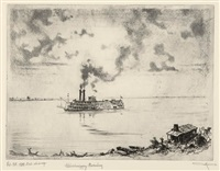 mississippi evening (+ steamboat wharf; 2 works) by otto august kuhler