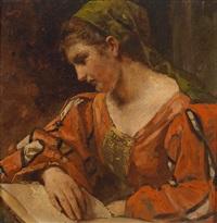 junge frau (study for venezia) by wilhelm von lindenschmit the younger