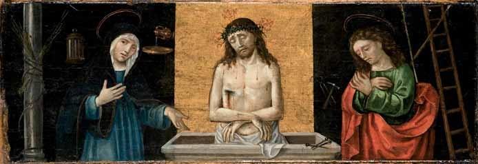 cristo di pietà tra la vergine e san giovanni by gandolfino da roreto