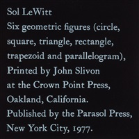 six geometric figures (circle,square,triangle,rectangle,trapezoid and parallelogram) (set of 6) by sol lewitt