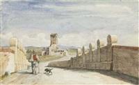 homme avec un chien sur le pont, une maison avec une tour à l'arrière-plan by victor baltard