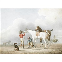 jockeys attending to their horses by pierre jean leroy