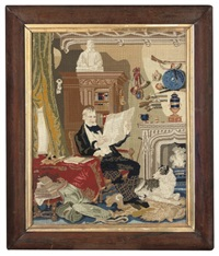 a gentleman in tartan trousers seated in a parlour amidst his books and guns by walter scott