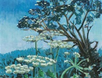 blossom tree and hogweed by john jobson