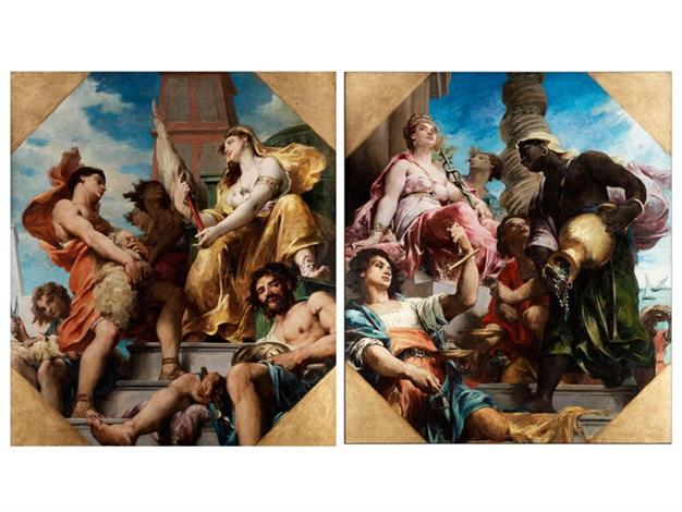 allegorie des handels sowie allegorie der produktion pair by henri léopold lévy