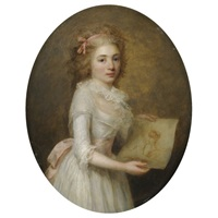 portrait of a girl in a white dress with a pink sash holding a life study by antoine vestier