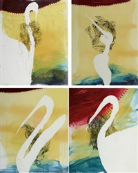 view of dawn in the tropics suite (set of 4) by julian schnabel