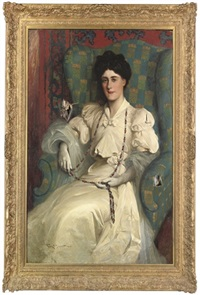 portrait of a lady seated, in a white dress with a beaded necklace by frank h. simpson