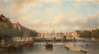 the river amstel with the magere brug in the distance, amsterdam by eduard alexander hilverdink