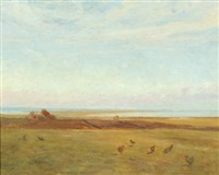 coastal scape with hens by hans ludvig smidth