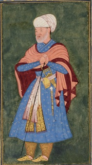 a portrait of a courtier leaning on a staff by anonymous-indian-mughal (16)