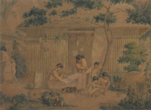 a mexican family outside their hut by johann salomon hegi