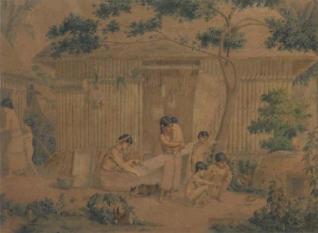 a mexican family outside their hut by johann-salomon hegi