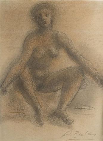 femme nue assise by arno breker