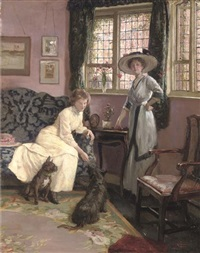 the drawing room at no. 26 tite street, chelsea - a portrait of the artist's wife and sister-in-law by george percy r. e. jacomb-hood
