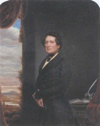 portrait of a gentleman by a window in his study, with a river landscape beyond by henry collen