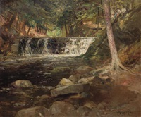 forest interior with stream and waterfall by bayard henry tyler