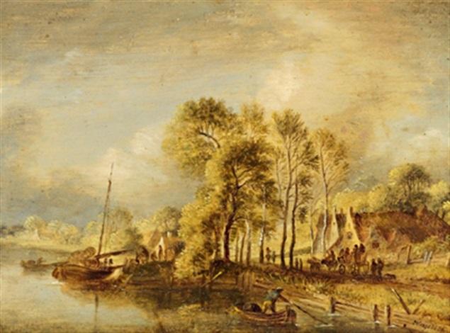 flusslandschaft mit fischerbooten und reisenden by johann michael frey