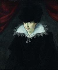 portrait de femme au chapeau noir by françois quesnel