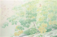 bird, trees and stream (four-panel screen) by taikyo uda