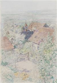 ährenfelder vor neustadt in hessen mit junker-hansen-turm (+ blick aus homberg an der efze über blühende bäume; 2 works) by paul baum