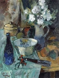 still life with fruit, blue vase and a water jug on a kitchen table by eben van der merwe