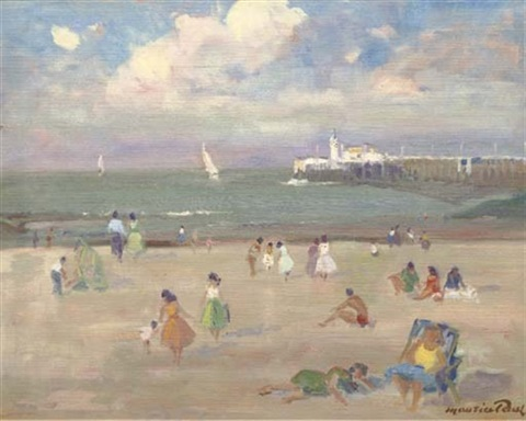 the beach at oostende by maurice paul